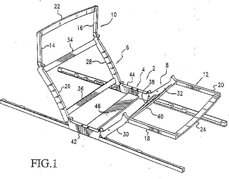 Dispositivo de apoyo ajustable motorizado para un acolchado de un mueble de asiento y/o reclinable, por ejemplo, un colchón o una cama.