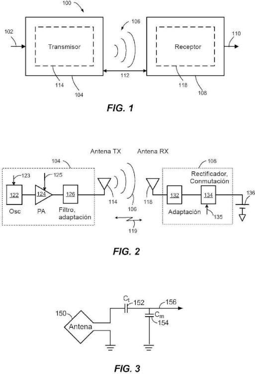 Ajuste de impedancia adaptativo en una transmisión de potencia inalámbrica.