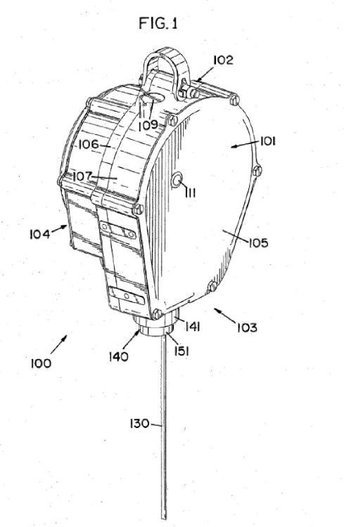 Cuerda salvavidas autorretráctil con porción de cuerda salvavidas de reserva.
