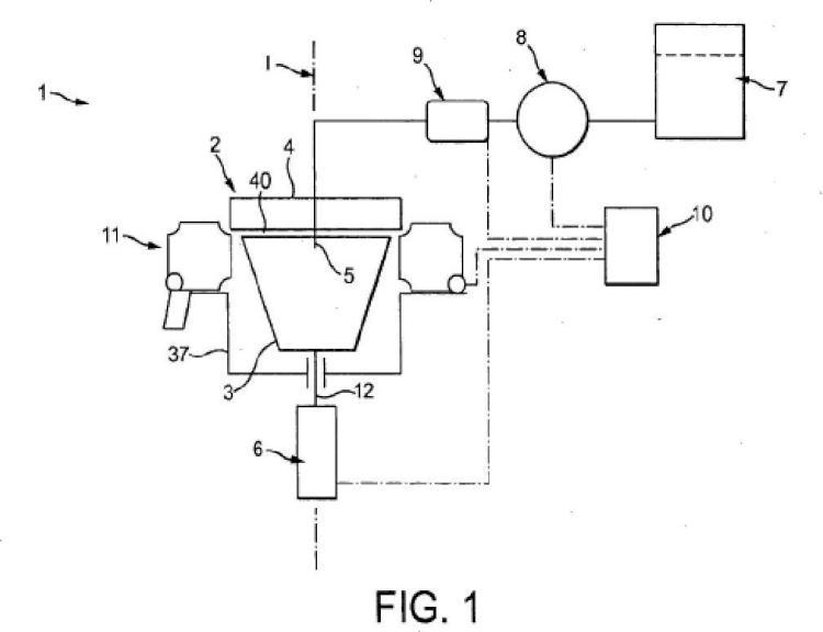 Máquina de preparación centrífuga con conjunto de recogida de flujo.