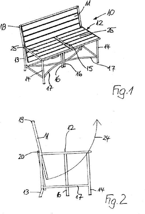 Mueble de asiento con función de mesa integrada.