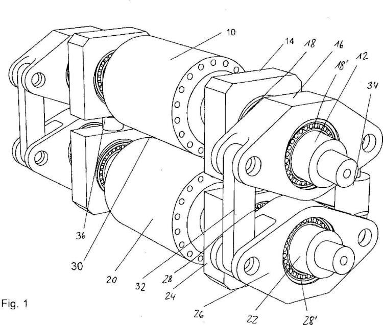 Disposición de rodillos con un dispositivo de regulación de la rendija entre rodillos y procedimiento para regular la rendija entre rodillos en una disposición de rodillos.