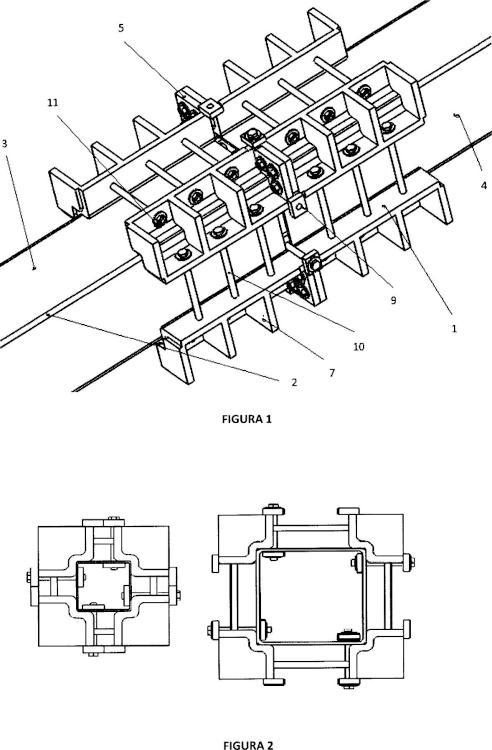 Sistema desmontable para unión continua de perfiles de tubo cuadrado.