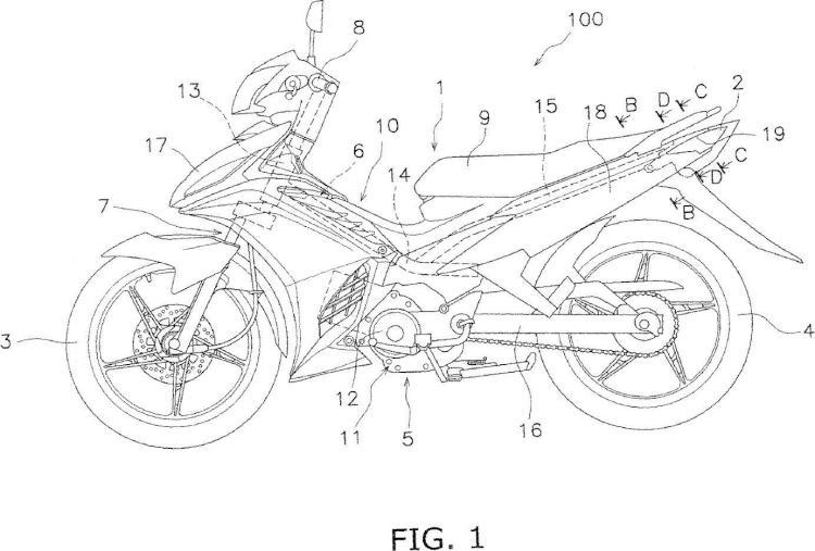 Unidad de lámpara trasera para motocicleta.