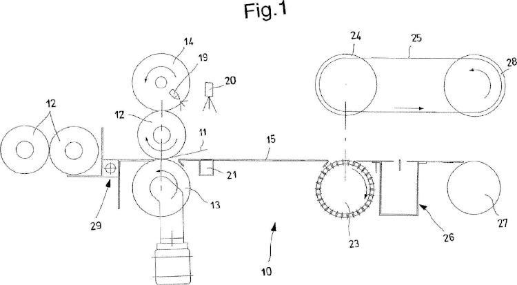 Máquina y procedimiento para el encolado del borde final de un rollo de papel.