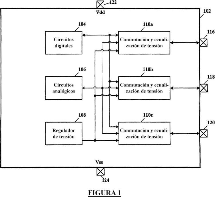 Borne seleccionable por el usuario para conexión de regulador interno a un condensador externo de filtro/estabilización y prevención de sobrecorriente entre los mismos.