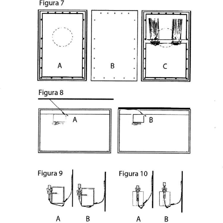 Dispositivo con sistema de sujeción flotante de bordones metálicos modificados en dos piezas para cajón con mecanismos independientes de tensión final.