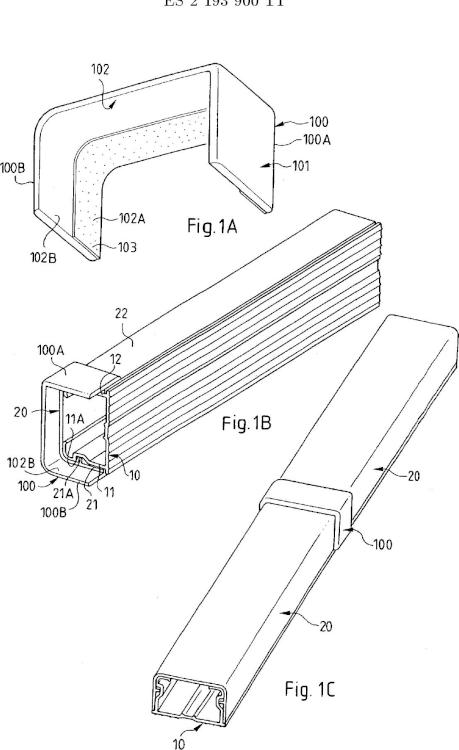 Ilustración 1 de la Galería de ilustraciones de Accesorio para canaleta que comprende medios adhesivos sobre un tramo de tapa