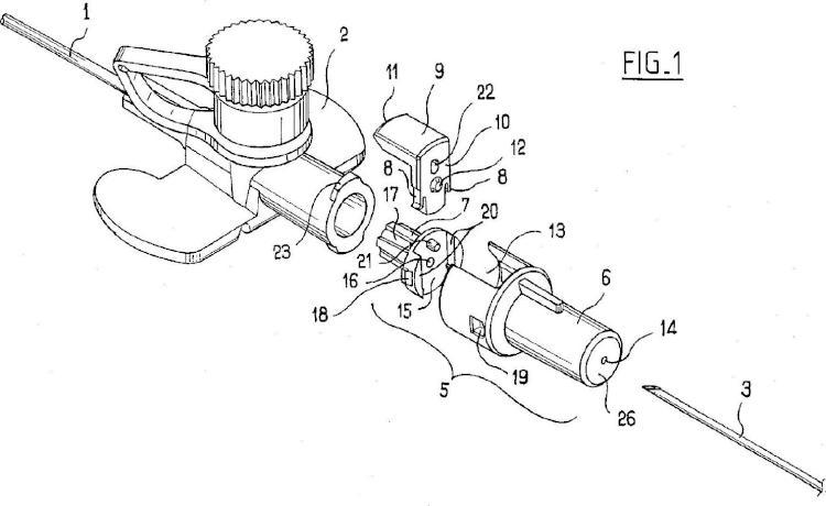 Ilustración 1 de la Galería de ilustraciones de Dispositivo con órgano de seguridad deslizante para la colocación de una cánula en una vena