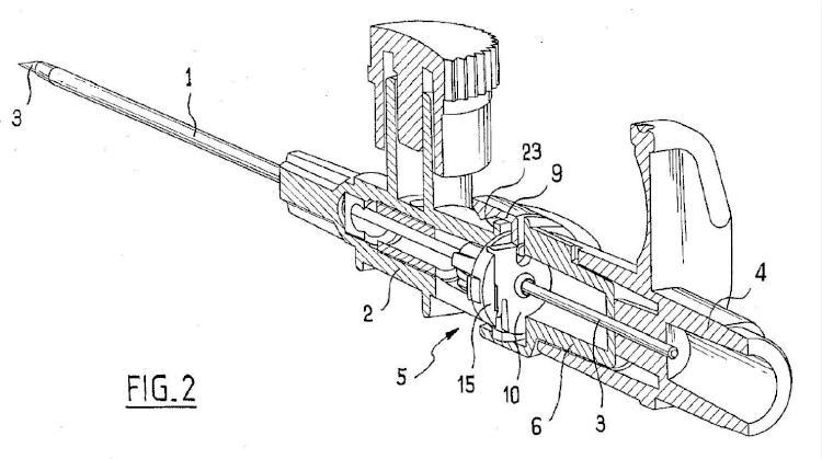 Ilustración 2 de la Galería de ilustraciones de Dispositivo con órgano de seguridad deslizante para la colocación de una cánula en una vena