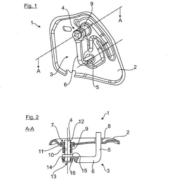 Disposición de estribo de cerradura de una cerradura de vehículo, en particular para un capó delantero.