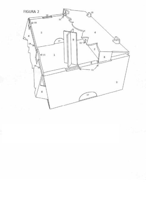 Caja de fácil llenado para productos hortofruticolas.