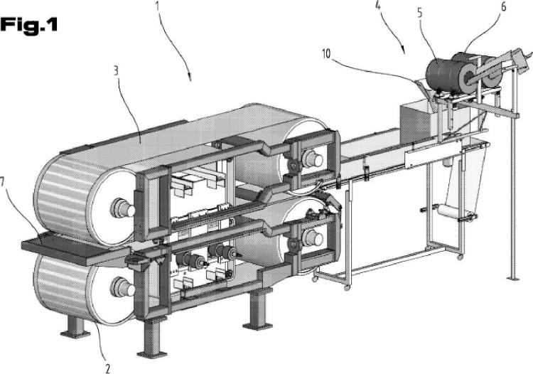Dispositivo y procedimiento para la fabricación de una losa de material de piedra artificial.