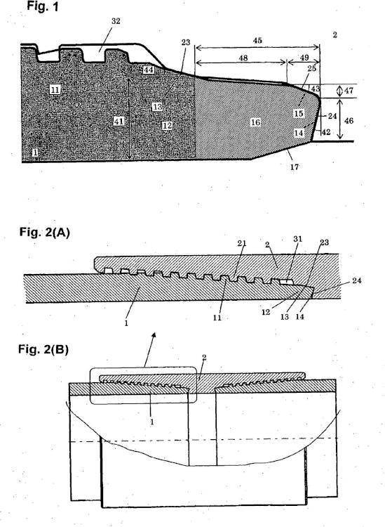 Junta roscada para tubos de acero.