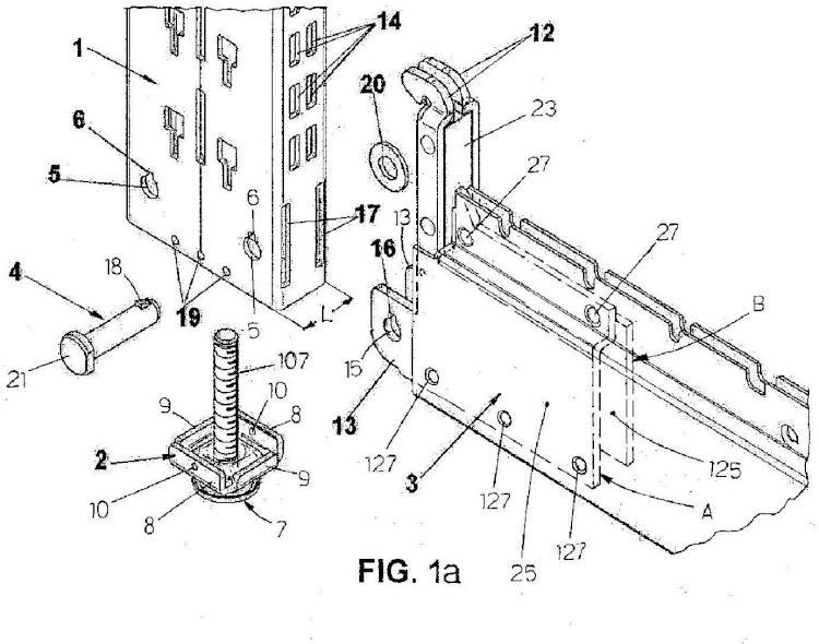 Estantería de metal para la presentación de mercancías, y método de montaje y desmontaje relativo.