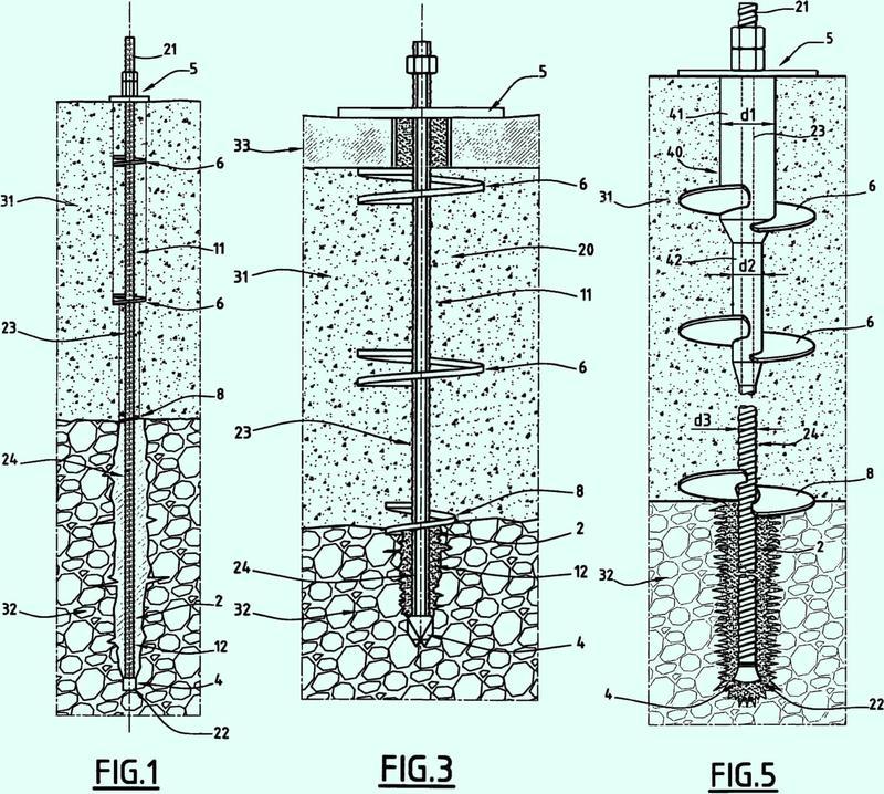Dispositivo para el anclaje en un suelo de múltiples capas.
