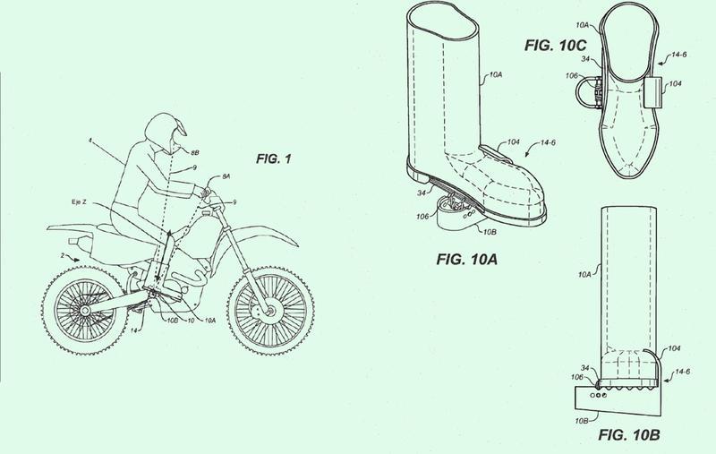 Sistema de retención activado por interfaz de control para fijar un zapato de motociclista a un rastral.