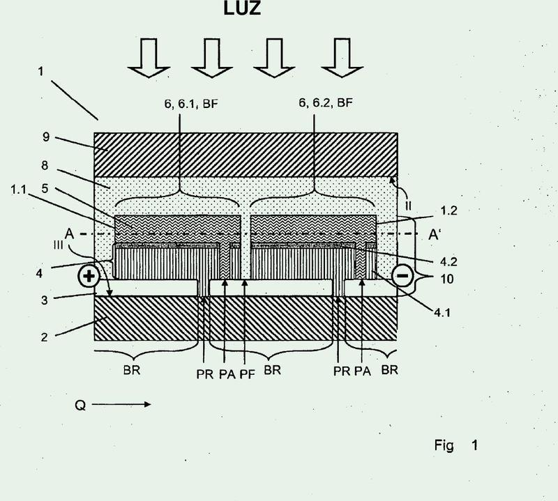 Módulo solar de capa fina con conexión en serie y método para la conexión en serie de células solares de capa fina.