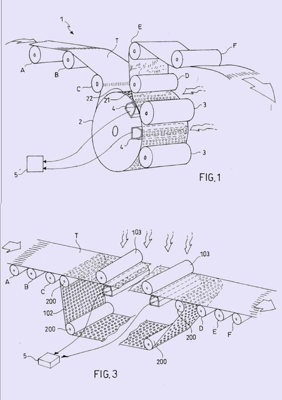 Un proceso y equipo para imprimir sobre tela no tejida.