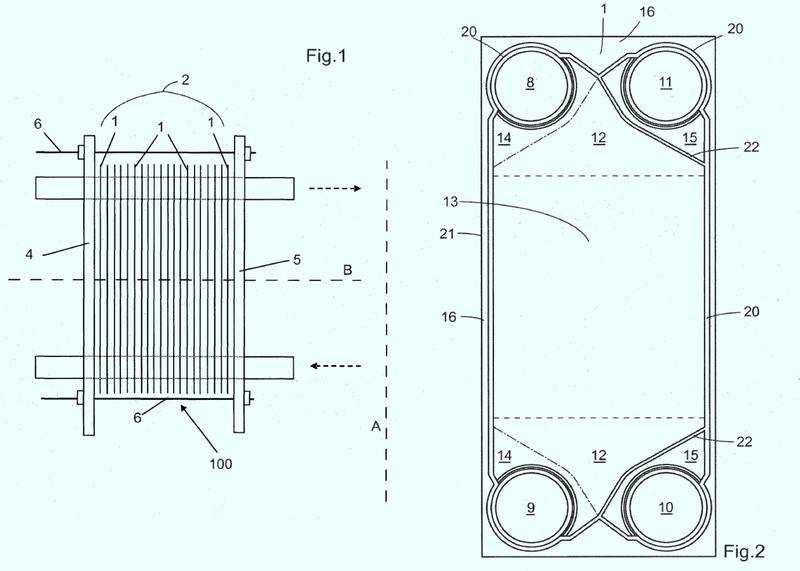 Placa y junta para un intercambiador de calor de placas.