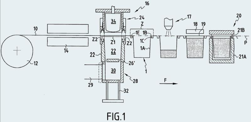 Dispositivo y procedimiento para el termoformado de un objeto que presenta un cuerpo y un reborde descendente.