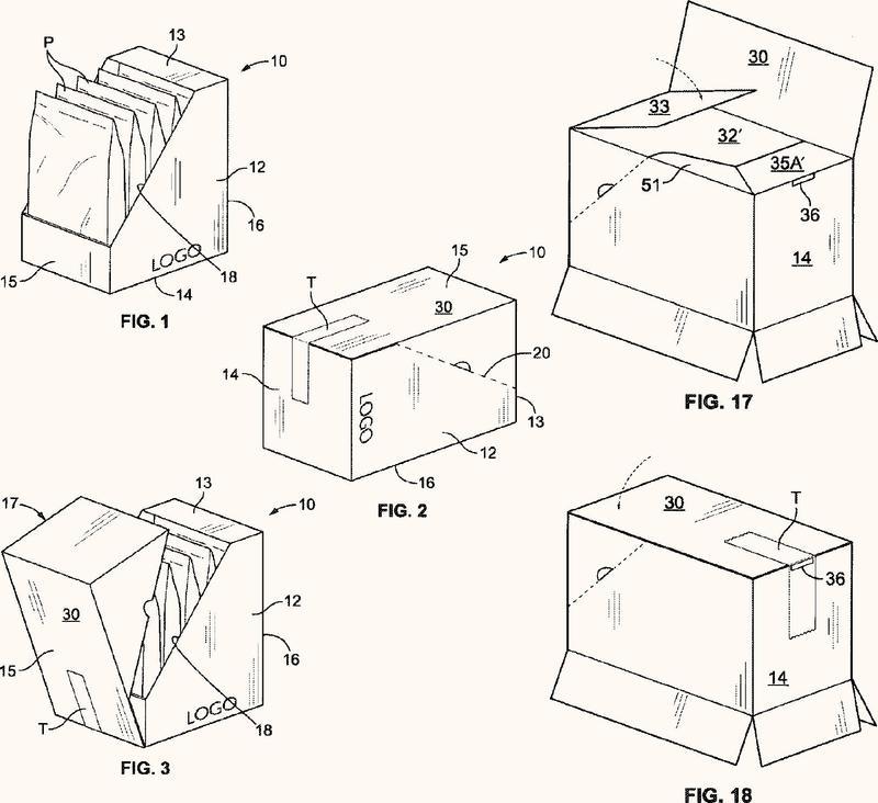 Caja de envío convertible en configuración de presentación.