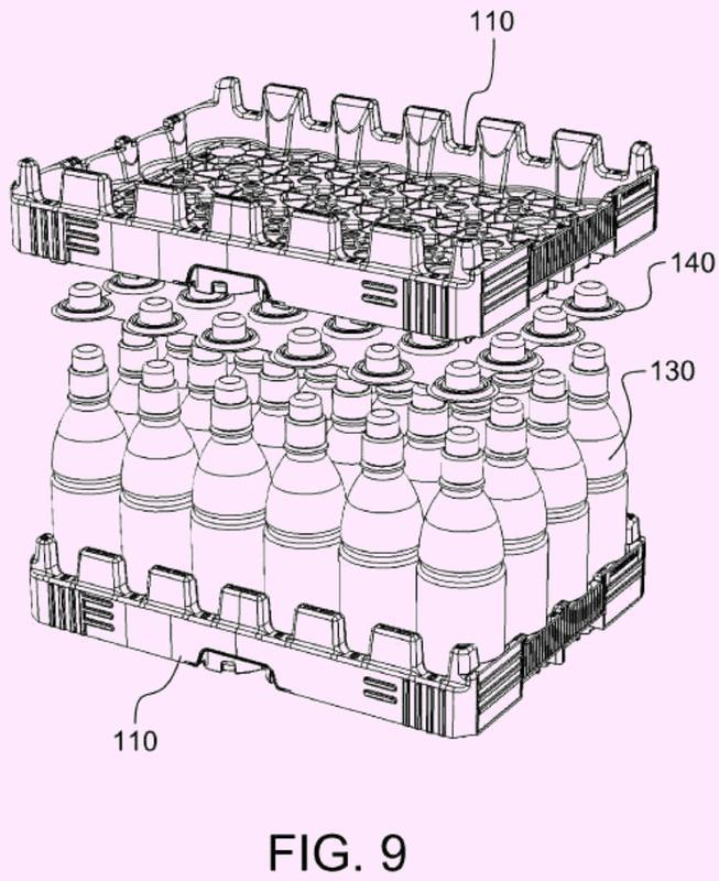 Sistema para el transporte de una matriz de una pluralidad de envases autoportantes para líquidos.