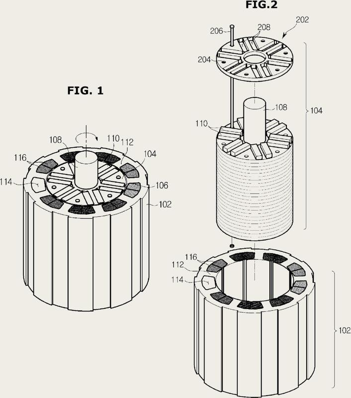 Motor y su rotor de imanes permanentes.