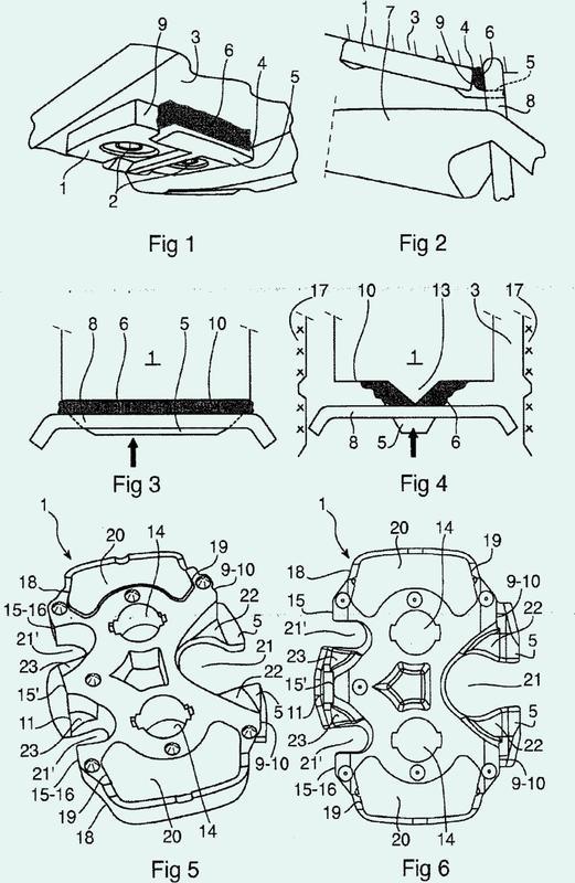 Placa de unión rápida de un calzado de ciclista a un pedal automático de bicicleta.