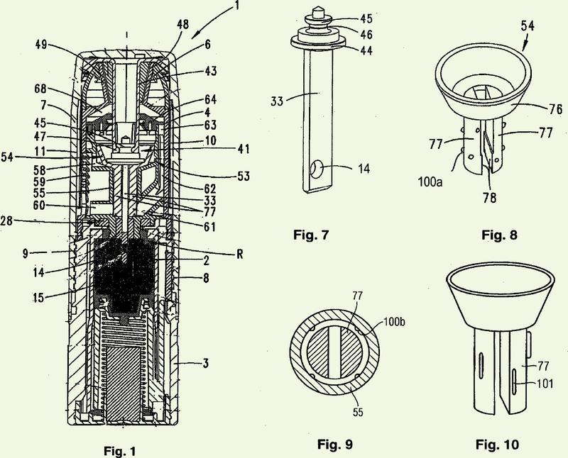 Dispositivo de dosificación para la generación de una corriente de gas en un principio activo finamente repartido en la misma.
