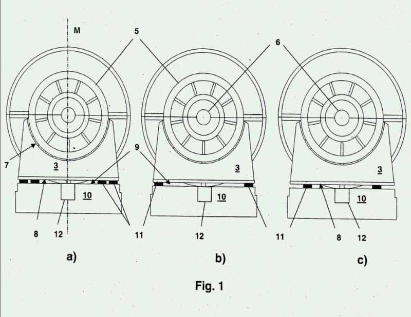 Dispositivo y procedimiento para el apoyo de una turbomáquina rotativa.