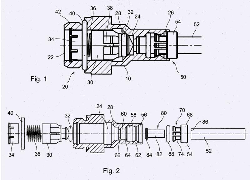 Sistema de acoplamiento para conectar un tubo de presión a un cuerpo de válvula.