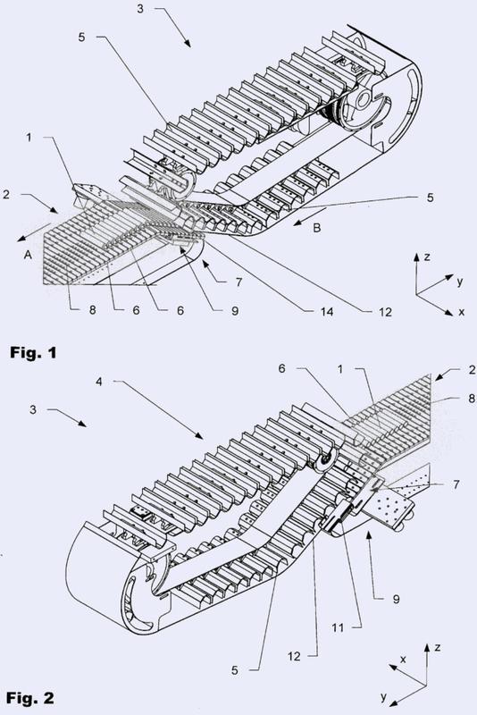 Equipamiento para la transferencia sin intersticios de tubos vacíos sobre una cinta transportadora.