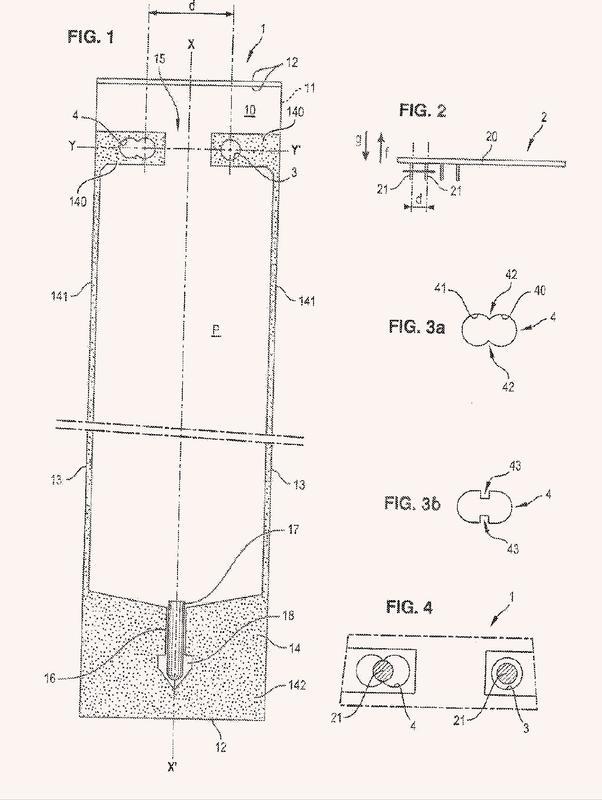 Saquito de acondicionamiento de una sustancia biológica que comprende unas aberturas de suspensión a un dispositivo de soporte, y banda formada por saquitos de este tipo.