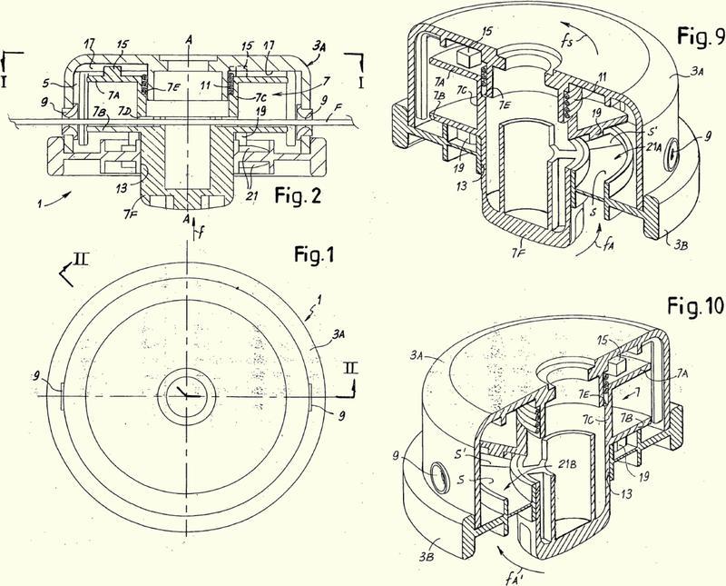 Cabezal de corte de hierba del tipo de hilo que se puede usar alternativamente en máquinas con rotación a la izquierda o a la derecha.