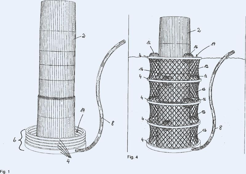 Dispositivo de aislamiento acústico para trabajos de hincado para hincar pilotes en el fondo marino.