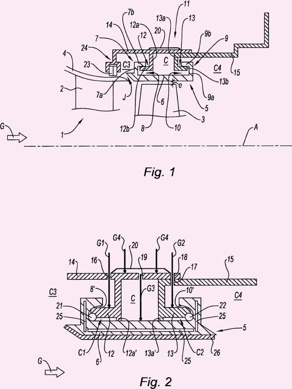 Dispositivo de soporte de un anillo de turbina, turbina con tal dispositivo y turbopropulsor con tal turbina.
