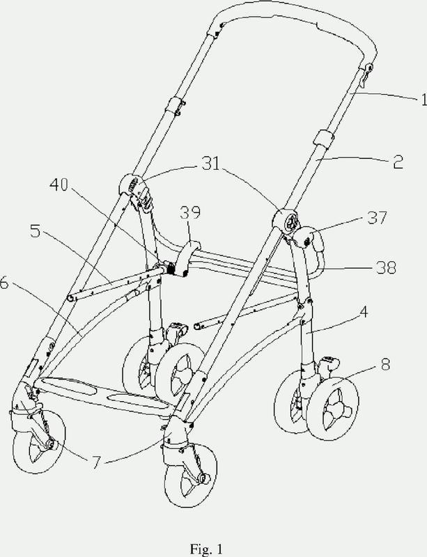 Carrito para niños con un conjunto plegable de rueda delantera.