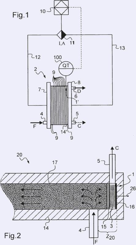 Dispositivo y procedimiento de electrodesionización que comprende el control de la corriente eléctrica mediante la medición de la expansión del material de intercambio iónico.