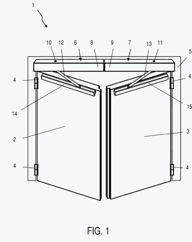 Equipamiento de bloqueo para un dispositivo regulador de la secuencia de cierre de una instalación de puerta giratoria de dos batientes.