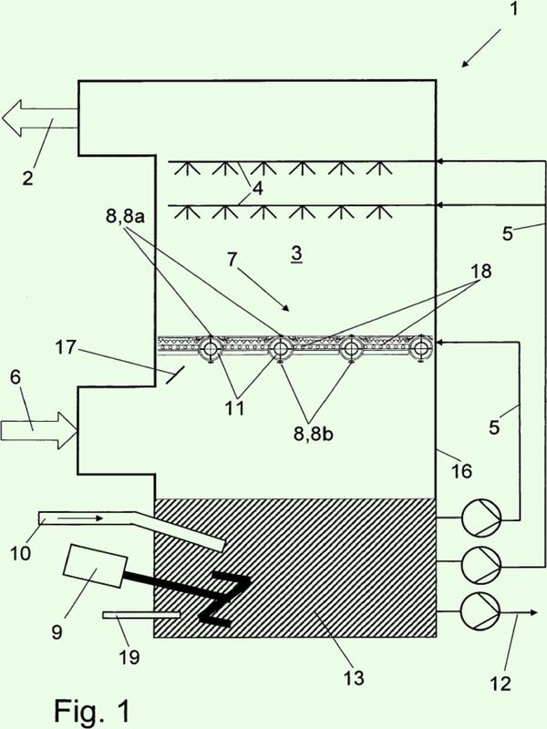 Instalación y procedimiento para la absorción de ciertos componentes individuales en gases.