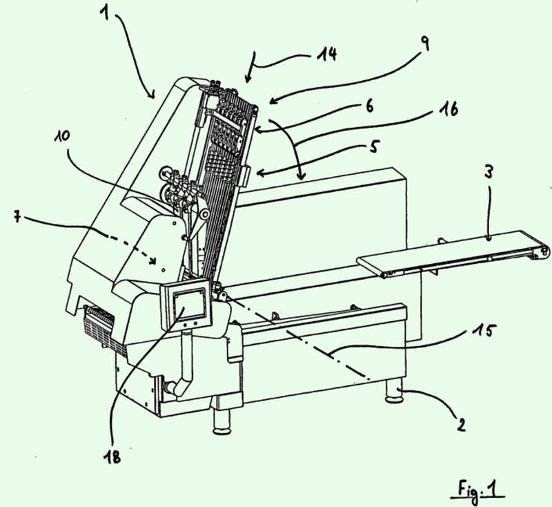 Procedimiento y dispositivo para cortar una cuerda de alimento en rodajas.
