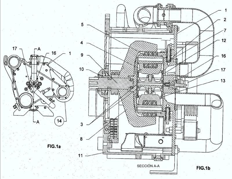 Motor de pistones rotativos radiales opuestos de dos tiempos.