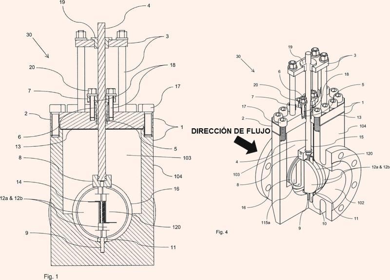 Conjunto de válvula de retención de doble placa con vástago ascendente.