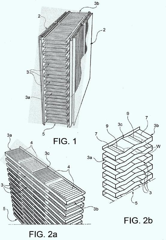Estructura de aletas para intercambiador de calor para aplicaciones de automoción, en particular para máquinas agrícolas y a pie de obra.