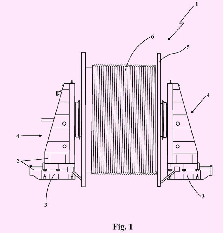 Aparato para desenrollar cables flexibles en fondos marinos…