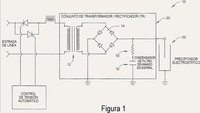 Aparato y disposición para alojar componentes de circuitería de acondicionamiento y de filtrado de tensión para un precipitador electrostático.