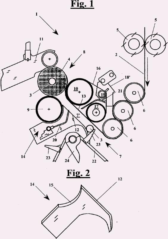 Un dispositivo de alimentación del núcleo en una máquina de rebobinado para la producción de rollos.