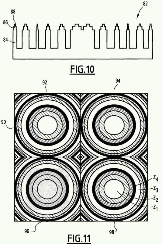 Antena de lente que comprende un componente dieléctrico difractivo apto para constituir un frente de onda de hiperfrecuencia.