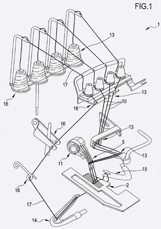 Máquina de coser y proceso para coser juntas, por medio de dicha máquina de coser, al menos dos solapas superpuestas de material textil.
